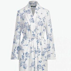 Ralph Lauren Ivory Housecoat Robe Blue Roses